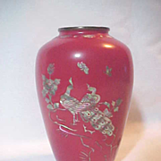 Red Enamel Vase Abalone Inlay Birds Flowers Korea Korean