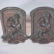 "PAIR Vintage BRONZE TONE CAST IRON BOOKENDS RODIN'S "" THE THINKER "" Book ends Book e"
