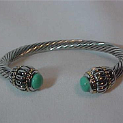 Silver Twisted Rope Cuff Bracelet Turquoise Tips