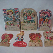 7 Valentine cards Pull down  pop up Honeycomb some unsigned die cut USA Germany Adorable