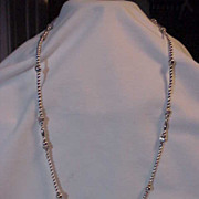 """Sterling Silver Long Beaded Necklace Mixed Size of Beads 31"""""""