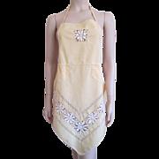 Bib Apron Vintage 1930s Yellow Linen Ornate Drawn Work Lace