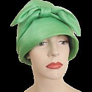 Bullock's Wilshire Green Cloche Hat Vintage 1960s Bow Lime Satin Chapeaux
