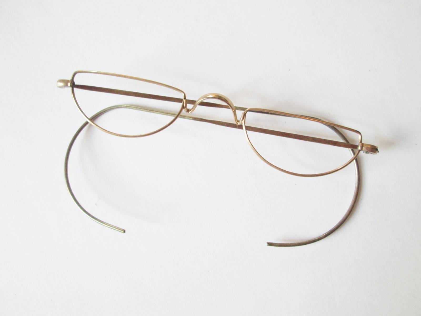 Antique Wire Rim Half Moon Reading Glasses Frames In Case ...