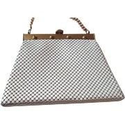 Mod Whiting and Davis Purse Vintage 1960s White Alumesh Enamel Handbag