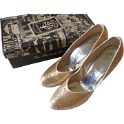 Womens Party Shoes Vintage 1950s Round Toe Pumps Silver Gold Metallic Brocade In Box