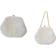 White Beaded Clutch Purse Vintage 1960s Womens Accessory Bridal Wedding Evening Wear