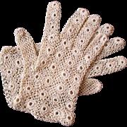 Irish Crochet Lace Gloves Vintage 1930s Womens Accessory Bridal Wedding