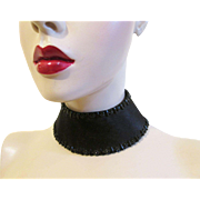 Antique Victorian Collar Choker Black Silk Beaded Jet Mourning Steampunk