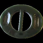 Art Deco Bakelite Buckle Vintage 1930s Green Carved Belt Accessory