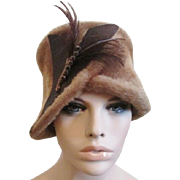 Austrian Faux Fur Cloche Hat Vintage 1960s Musketeer Feather Amber Rhinestones Plume Accessory