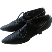 SOLD Victorian Womens Black Silk Shoes Antique Pair