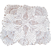 White Crocheted Lace Tablecloth Vintage 1930s Handiwork
