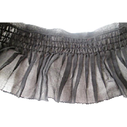 Antique Black Mourning Crepe Ruffle Edging Trim Womens Dress
