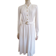Winter White Dress Vintage 1970s Gold Accents Belt M