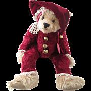 SOLD Christmas Teddy Bear Vintage 1990s Artist Cranberry Mountain Muriel Townsend Jingle Bells