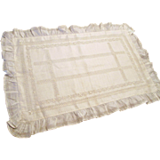 Edwardian Lace Pillowcase Drawnwork Linen Ruffle Hemstitching Mint Condition