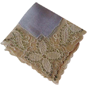 Antique Brussels Lace Silk Hankie Hanky Point de Gaze Fine Womens Accessory