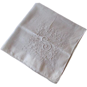 SOLD Hanky Hankie Vintage 1940s S Monogram Embroidery Gauze Cotton