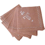 Madeira Fine Linen Napkins Vintage 1940s Embroidery Mint Never Used