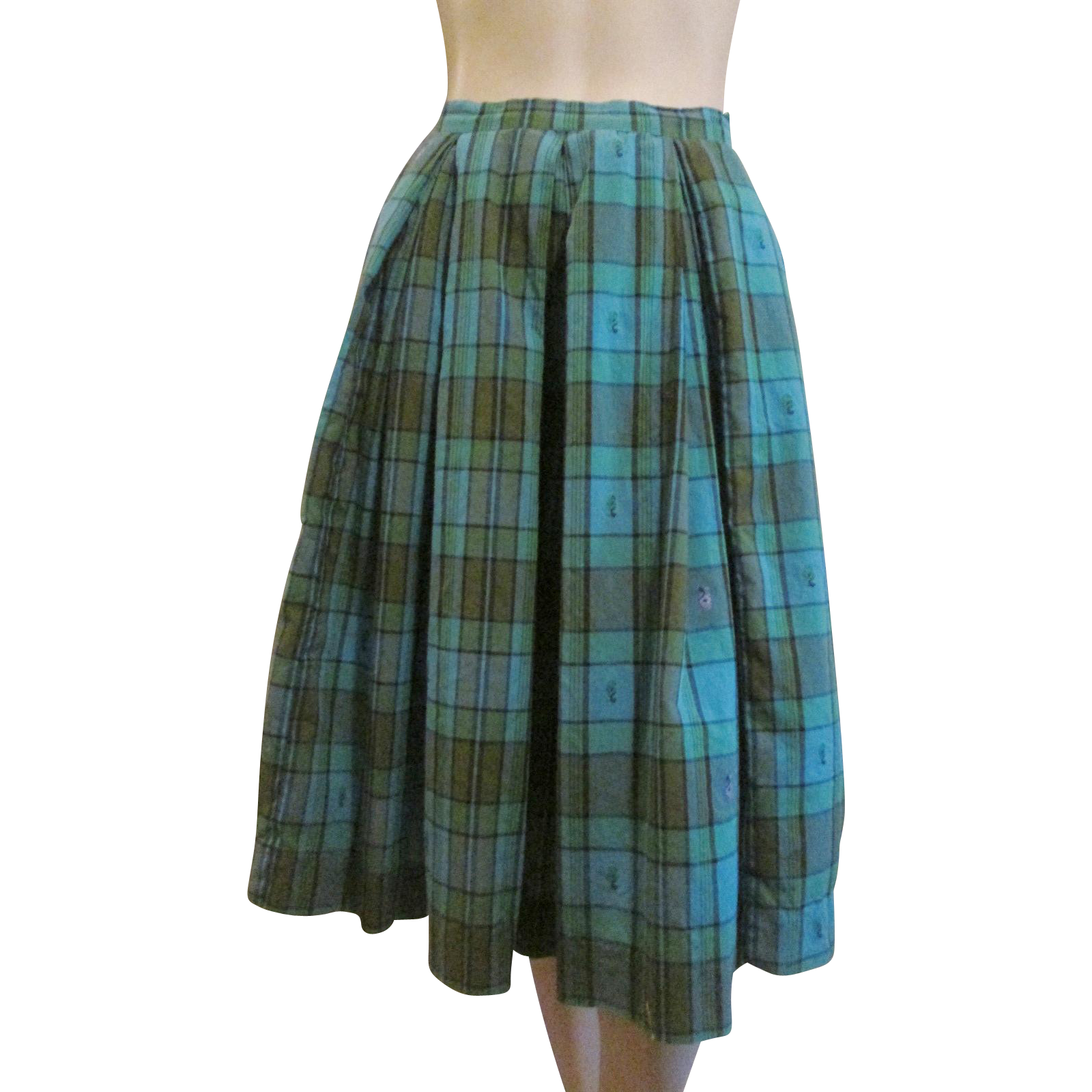 womens skirt vintage 1950s blue plaid cotton from