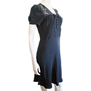 Vintage 1950s Black Day Dress Nylon Lace Bow Tie S