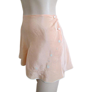 Peach  Silk Lingerie Bloomers Vintage 1940s High Waist Applique Panties