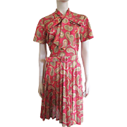 Vintage 1970s Secretary Dress Pussycat Bow Pleated Skirt L - XL
