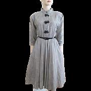 Vintage 1950s Swing Dress Plaid Joundstooth Cotton Full Circle Jennifer Gee