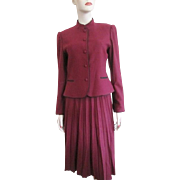 Womens Wool Suit Vintage 1970s Jacket Pleated Skirt Sasson Wine Burgundy