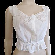 Antique Victorian Camisole White Cotton Lace Larger Size Corset Cover