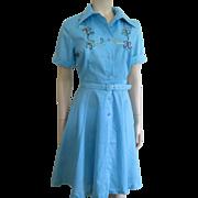 SOLD Rockabilly Swing Dress Vintage 1950s Montgomery Ward Flower Embroidery Tulle Skirt Belt