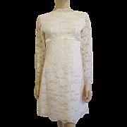 Mod White Lace Dress Vintage 1960s Wedding Party Womens Fashion