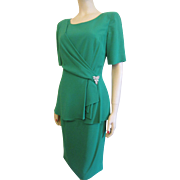 Saks Fifth Avenue Green Dress Vintage 1980s Rhinestone