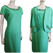 Mod Green Silk Faille Suit Vintage 1960s Dress Jacket Beaded Samuel Grossman Larger Size