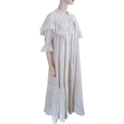 Antique Edwardian Nightgown Dress Cotton Polka Dot Fine Net Lace