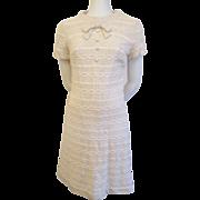 Ivory Crocheted Lace Dress Vintage 1960s Carol Craig Bow Tie
