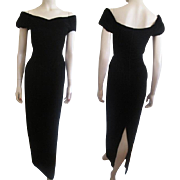 Black Velvet Bombshell Dress Vintage 1980s Off The Shoulder Evening Wear