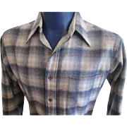 Mens Pendleton Shirt Vintage 1970s Wool Plaid Blue Grey M