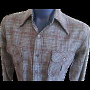 Vintage 1970s Mens Pendleton Shirt Wool Plaid Houndstooth L