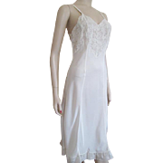 Full Slip Negligee Vintage 1940s Ivory Rayon Lace Lingerie S