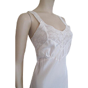 Vintage 1940s Full Slip Negligee Ivory Rayon Lace