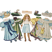 RARE Raphael Tuck Paper Doll Set Antique 1894 Blonde Gowns Hat Unused