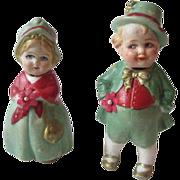German Bisque Nodder Doll Pair Couple Vintage 1930s Irish Green Leprechaun