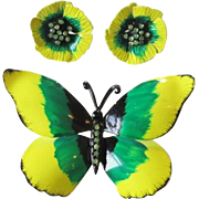 Butterfly Brooch Earrings Vintage 1960s Large Jewelry Set Rhinestones