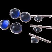 Edwardian Tuxedo Cuff Links Studs Set Cobalt Blue Glass Circa 1910