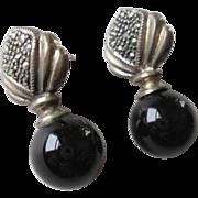 Sterling Onyx Marcasite Pierced Earrings Signed Jewelry Art Deco Design