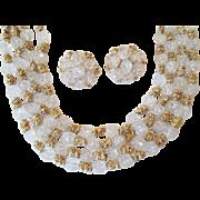 Crown Trifari Necklace Earrings Set Vintage 1950s Beaded Jewelry