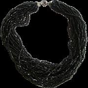 Black Jet Torsade Necklace Vintage 1950s Multi Strand Jewelry