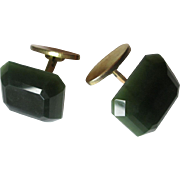 Mens Vintage Cuff Links Beveled Green Glass Signed Dierx